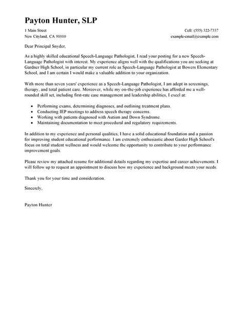 Cover Letter Language Leading Professional Speech Language Pathologist Cover Letter Exles Resources