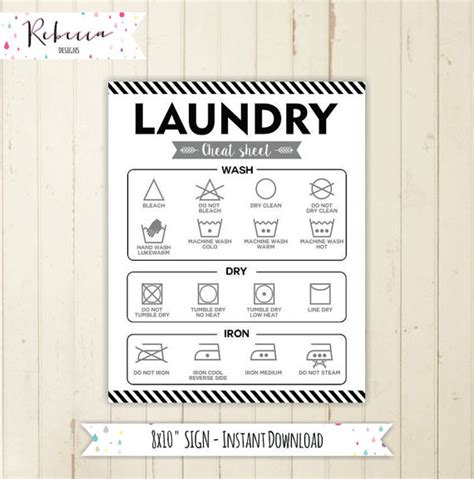 laundry design guide printable laundry symbol chart guide laundry cheat sheet