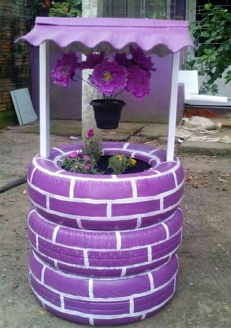 how to diy old tire garden ideas recycled backyard cool diy tire wishing well planters diy craft projects