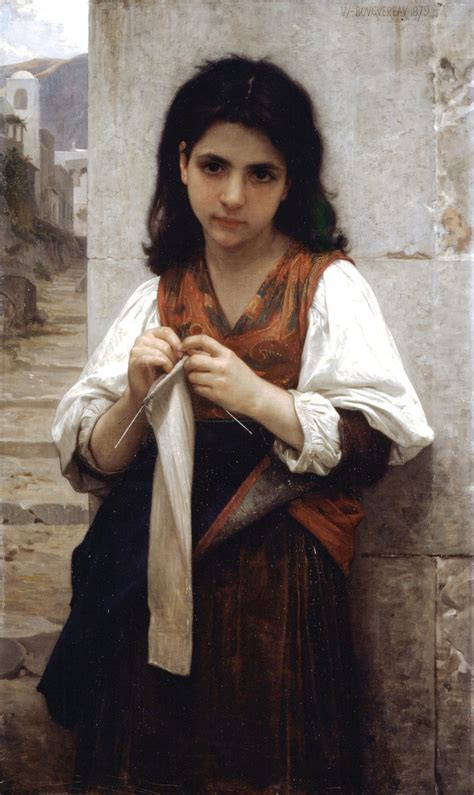 william adolphe bouguereau young girl knitting machine 1879 william adolphe bouguereau