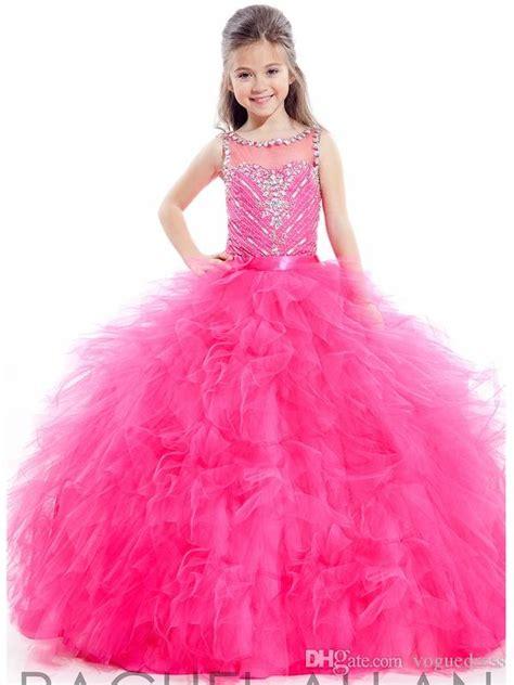 Atasan Anak Perempuan Pink Neck Dress Pink Neck 2016 pink flower grils dresses organza sheer lace neck