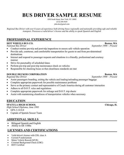 school driver resume exles resume ideas