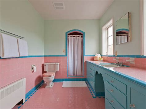 Pink And Blue Bathroom Accessories Five Vintage Pastel Bathrooms In This Lovely 1942 Capsule House Portland Oregon 13 Photos