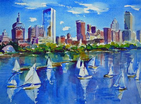 paint nite boston artists boston skyline painting by diane bell