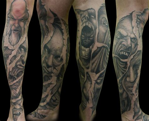 demon sleeve tattoo designs award winning leg sleeve by ianinktattoo on deviantart