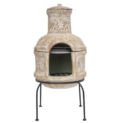 Chiminea With Grill clay chiminea barbecue la hacienda flower chiminea with bbq grill 29 quot high ebay