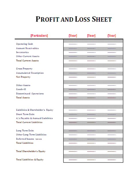 personal profit and loss statement template free profit and loss statement template cyberuse