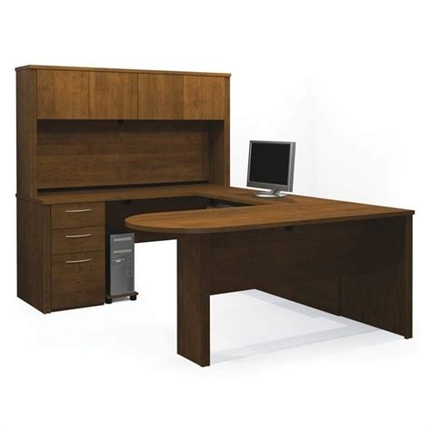 U Shaped Office Desk With Hutch Bestar Embassy U Shape Home Office Wood Desk Set With Hutch In Tuscany Brown 60856 63