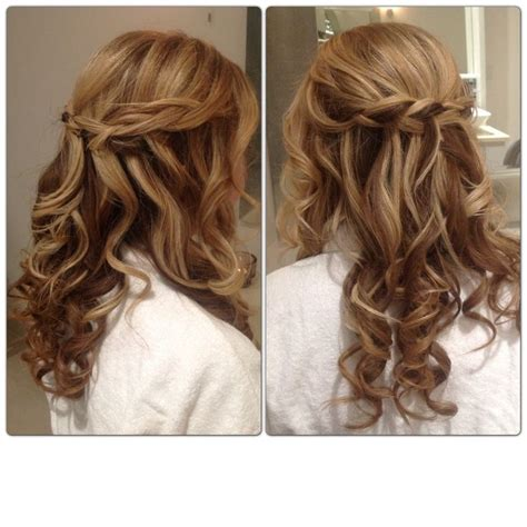 braid curl wedding hair half up half bridal style
