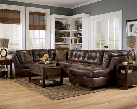 ashley furniture leather sectional frontier canyon chaise sectional by ashley furniture