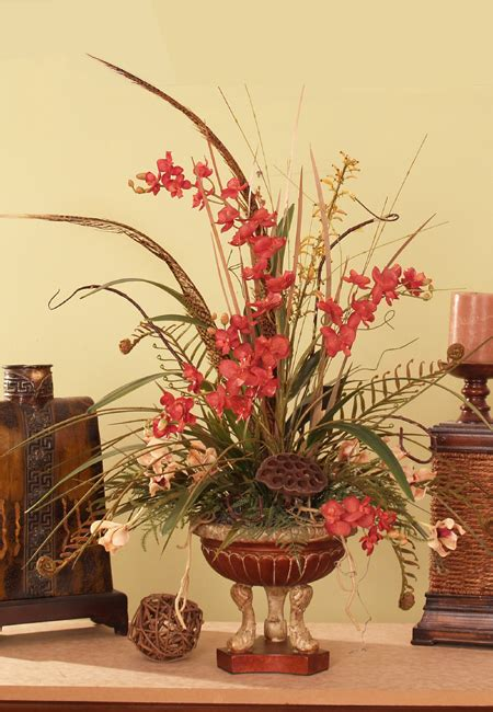 home decor floral arrangements red phalaenopsis orchids feathers silk flower