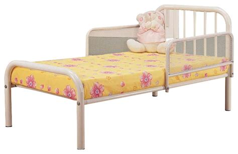 White Metal Frame Toddler Bed White Finish Metal Toddler Bed Frame With Rails Beds By Pilaster Designs