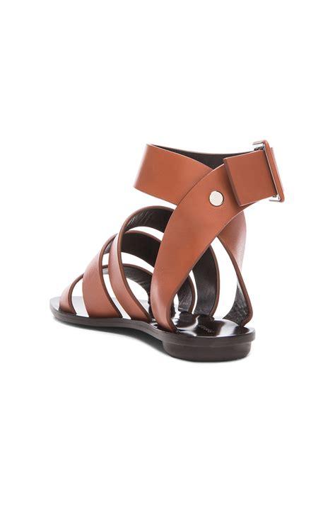 proenza schouler sandals proenza schouler multi leather flat sandals in brown