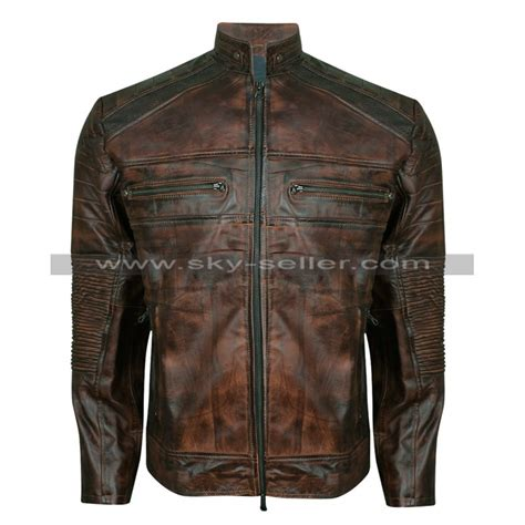 Vintage Biker s vintage motorcycle cafe racer brown distressed jacket