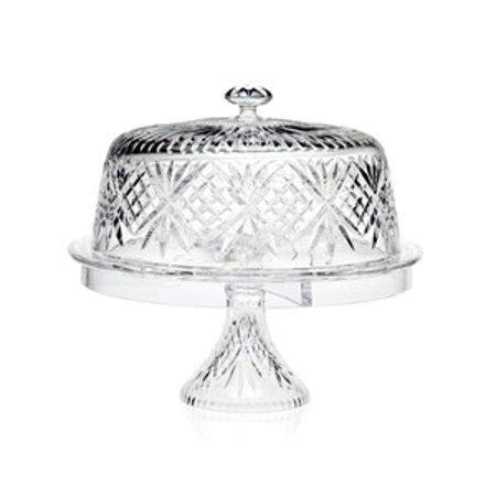 dublin     leaded crystal cake plate pedestal  glass dome cover walmartcom