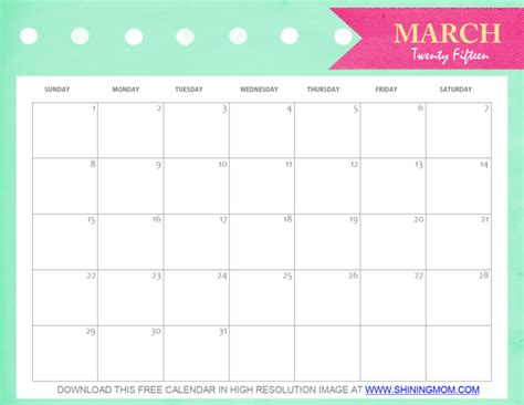 printable calendar 2015 for march free printable march 2015 calendar cute and pretty