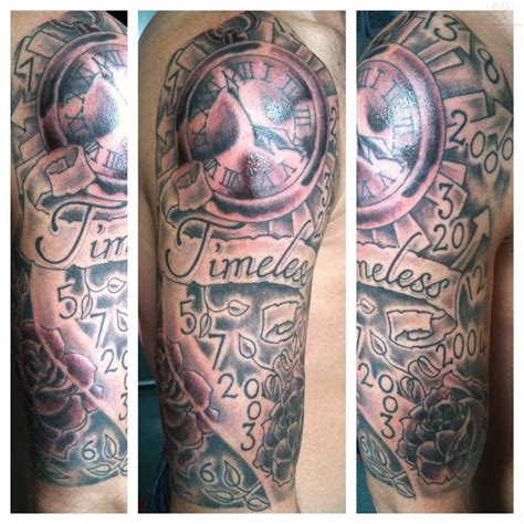 clock sleeve tattoo timeless banner and clock