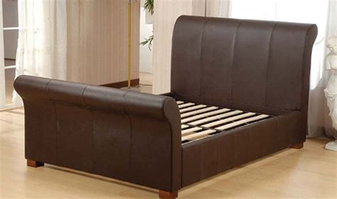 Real Leather Bed Frame Luxurious Brown Kingston Real Leather Sleigh Bed
