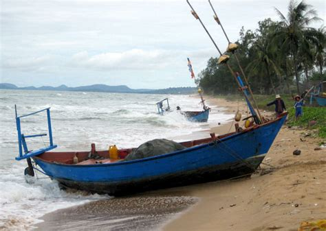 boat with a very fine net boats of southern gulf of thailand coast vietnam and cambodia