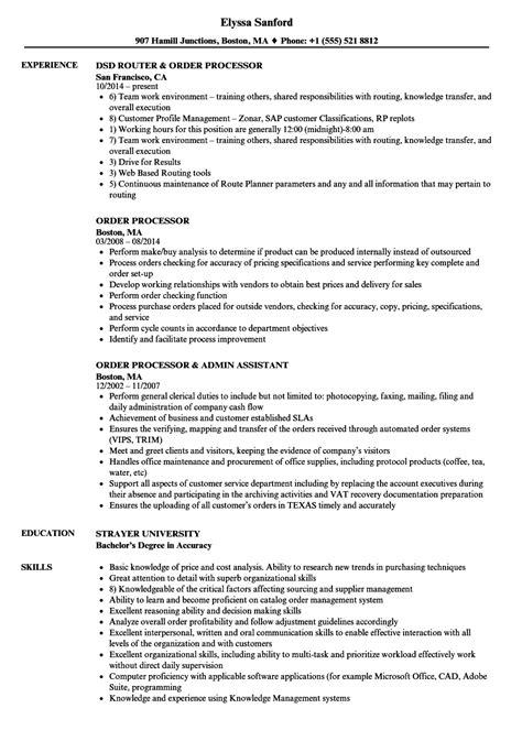 order processor resume sles velvet
