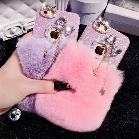 Softcase Rabbit Fur Series Iphone 6 6s 1 ᑎ luxury rabbit fur for iphone 6 glitter soft tpu coque coque for iphone 6s plus 5