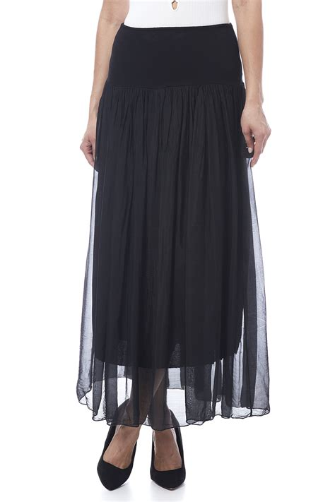 tu anh boutique black silk maxi skirt from alexandria by