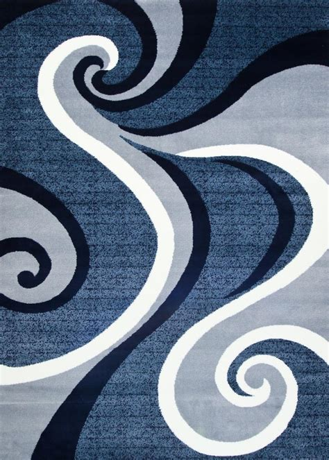 Modern Abstract Rugs 0327 Blue Area Rug Modern Contemporary Abstract Carpet Ebay