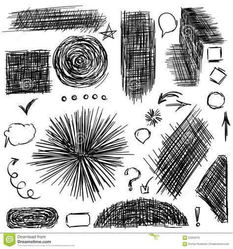 vector pencil design elements pencil sketches hand drawn scribble shapes stock vector