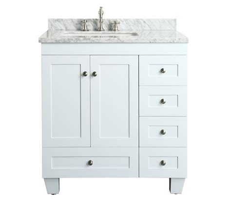 White 30 Inch Bathroom Vanity Contemporary 30 Inch White Finish Bathroom Vanity Marble Countertop