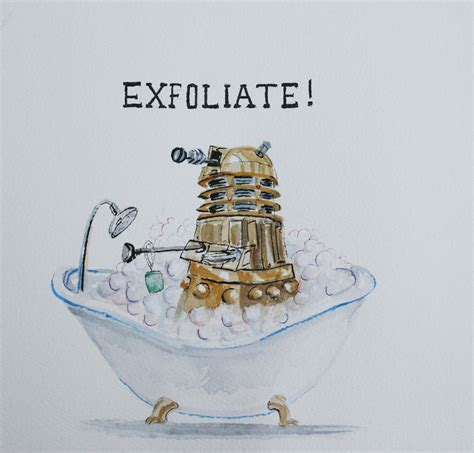 doctor who bathroom decor dalek bath time exfoliate dr who fan art 8x8