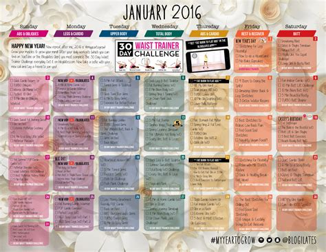 Blogilates Calendar January 2016 Calendar Is Here Get The Pw When You Sign Up