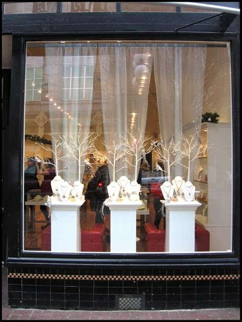 christmas decorating ideas for store windows window display jewellery display and packaging front windows white trees and