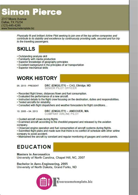Airline Pilot Resume Template by Airline Pilot Resume Template Free Resume Templates