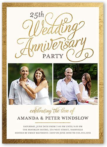 25th Wedding Anniversary Invitations   Shutterfly