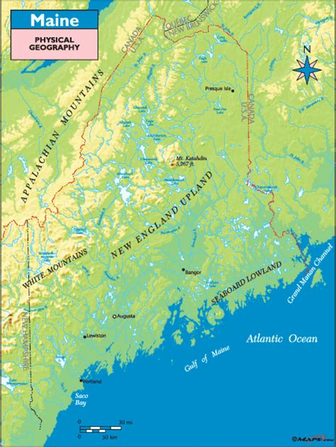 physical map of maine maine physical geography map by maps from maps
