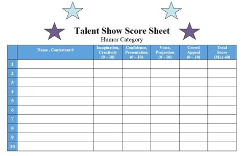 8 Free Sle Talent Show Score Sheet Templates Sles Printable Sles Quiz Competition Score Sheet Template