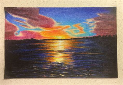 sunset colored pencil sunset colored pencil sunset in colored pencil by