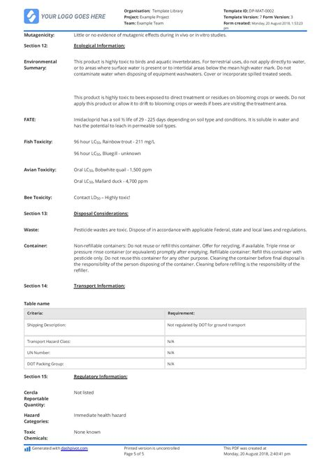 material safety data sheet template free free material safety data sheet template better than word