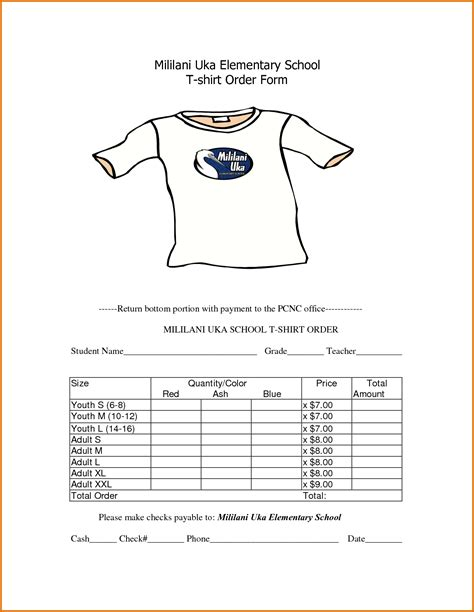 4 T Shirt Order Form Template Freereference Letters Words Reference Letters Words Apparel Order Form Template