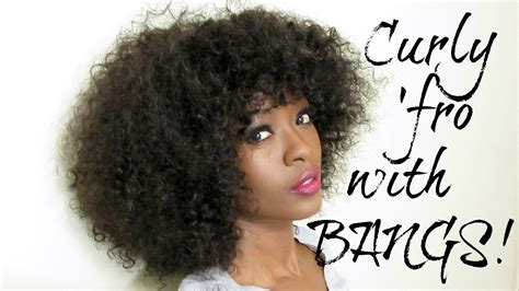 how to style an afro weave how to curly afro with bangs