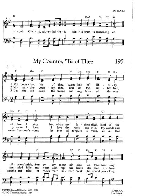 printable lyrics my country tis of thee my country tis of thee hymnary org