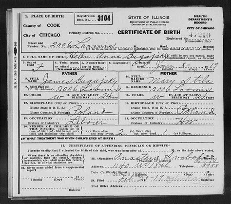 Birth Records Chicago Il Forum Polishorigins View Topic Bugajski Bugajski Family In Chicago