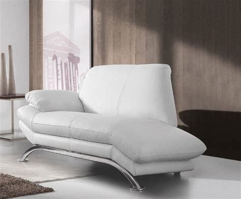 Modern Chaise Sofa Deltasalotti Contemporary Armonia 2 Seater Real Leather Chaise Longue Sofa