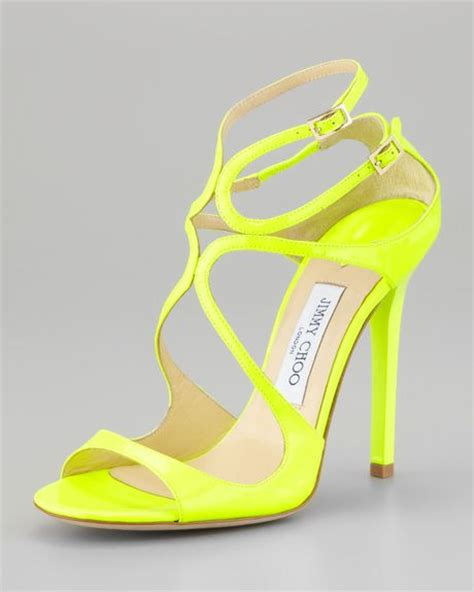 yellow strappy sandals jimmy choo lang patent strappy sandal yellow in yellow lyst