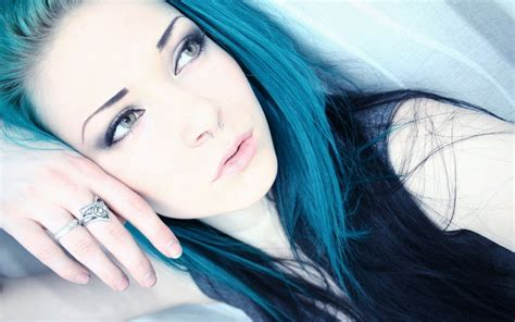 wallpaper blue hair cute emo girl hd wallpaper stylishhdwallpapers
