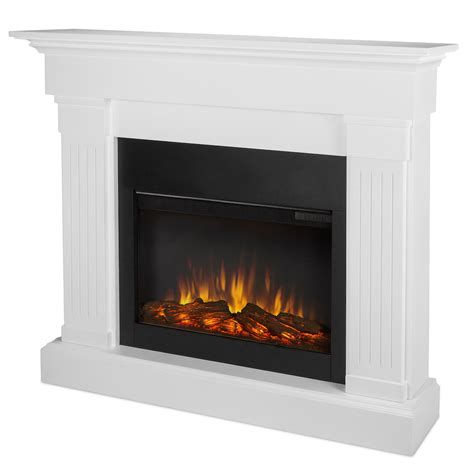 Electric Fireplace In White by Real Slim Line Electric Fireplace In White