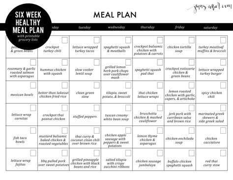 printable healthy meal planner six week healthy meal plan with free printable grocery