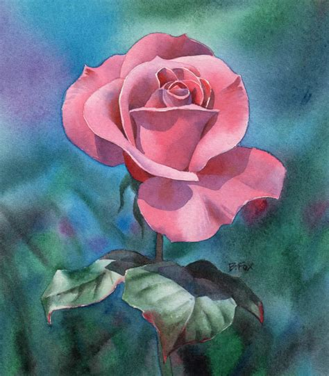 tutorial watercolor art watercolour painting demonstration perfectly pink rose