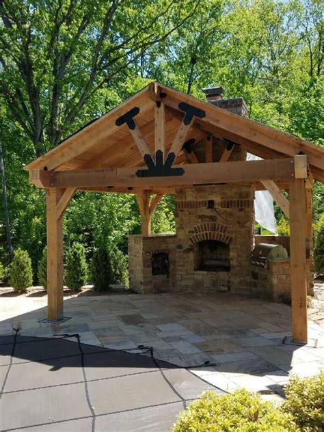 backyard pavilion   fireplace serves   multi
