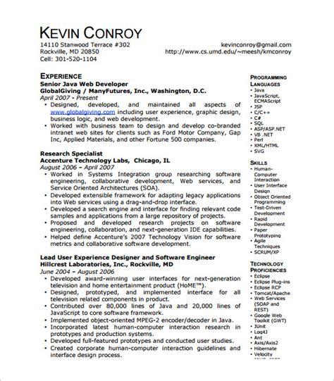 web developer resume template doc 11 web developer resume templates doc pdf free premium templates